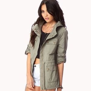 Forever 21 Hooded Zip Utility Jacket Green Large